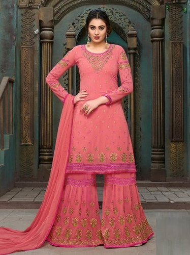 Peach Georgette Embroidery Party Wholesale Palazzo Salwar Kameez