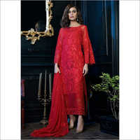 Ladies Faux Georgette and Mono Net with Heavy Embroidery Dress
