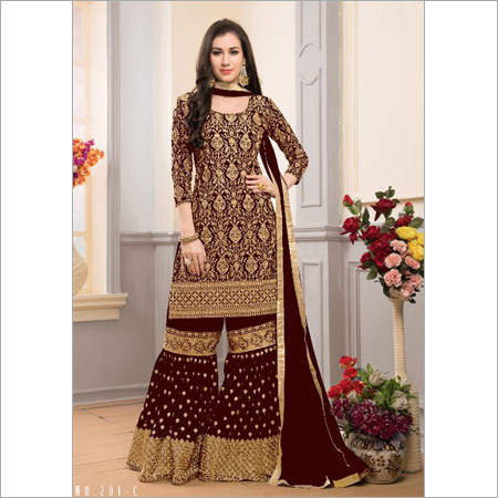 Ladies Faux Georgette With Heavy Embroidery and Santoon Inner Suit