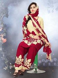 Red Crepe Printed Casual Wholesale Patiala Salwar Kameez Salwar Kameez