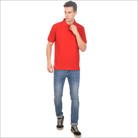 Mens Polo Neck Red T Shirt