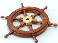 """Deluxe Class Wood and Brass Decorative Ship Wheel 15"""""""