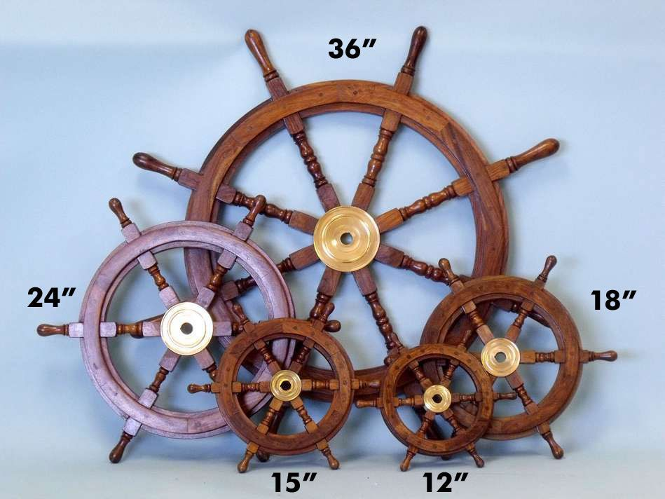 Deluxe Class Wood and Brass Decorative Ship Wheel 15