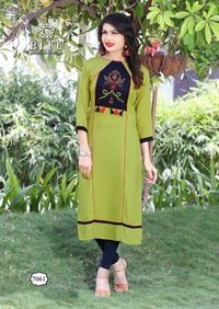 Mahek By Bitu Rayon With Embroidery Worked Kurtis
