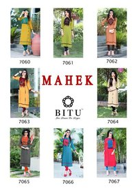 Mahek By Bitu Rayon With Embroidery Worked Kurtis
