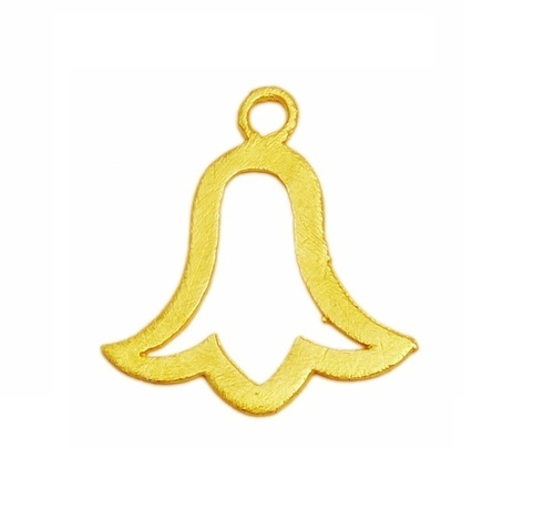 Handmade Gold Plated Temple Bell Metal Charm Pendant - Fancy Bell Shape Pendant