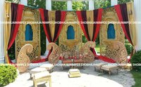 Gold Jharoka Wedding Fiber Panel Backdrop