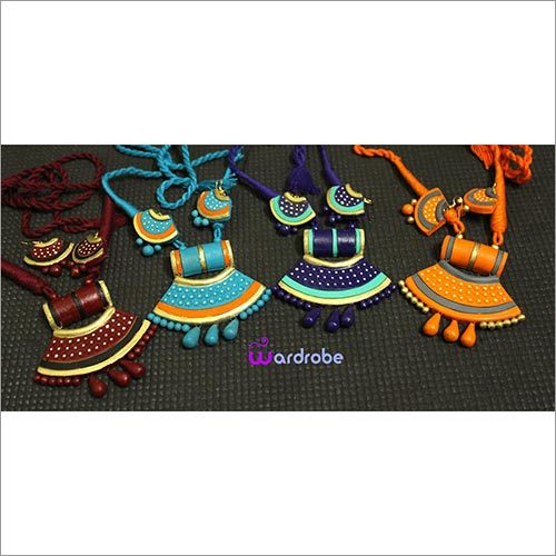 Two Line Gold Terracotta Necklace Set