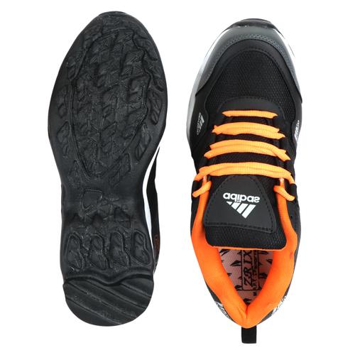 Mens Abibas Black Orange Sports Shoes