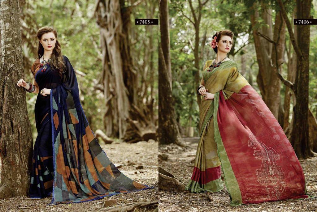 Georgette Printed Silk Saree
