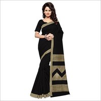 New Designer Black Bhagalpuri Silk Saree With Blouse Piece