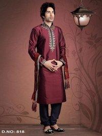 Maroon Colour Taffete Embroidery Kurta Pajama