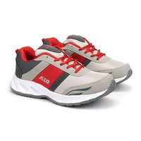 Grey & Red Fylon Sole Sports Shoes