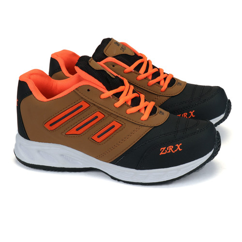 Mens Tan, Black & Orange Shoes