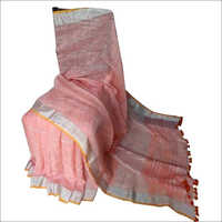 Dark Peach Linen Saree