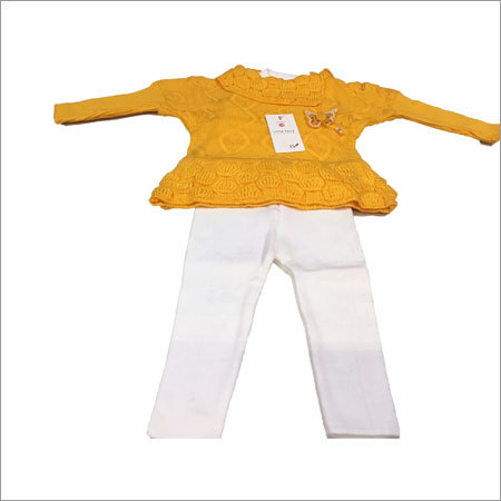 Yellow Casual Wear Three Piece Girls Woolen Suit