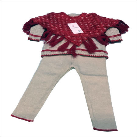 Three Piece Girls Woolen Suit With Shrug