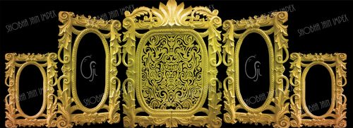 Gold Jali Designer Wedding Fiber Frame