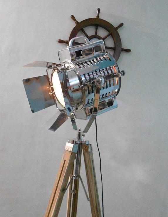 Wooden Tripod Floor Lamp Spot Light Vintage Industrial Metal Lighting