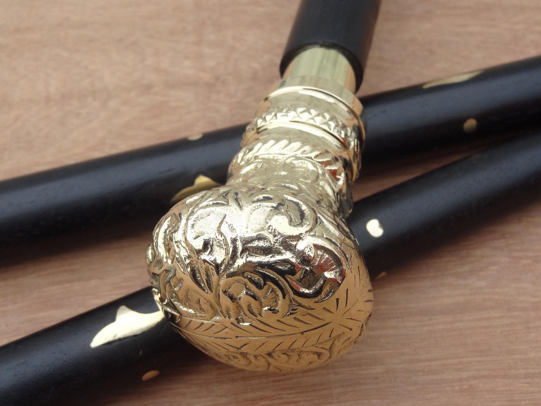 Vintage Nautical Solid Brass Designer Handle Wooden Walking Stick