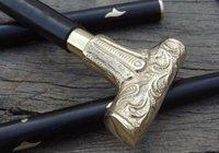 Vintage Brass Handle Antique Style Victorian Cane Wooden Walking Stick