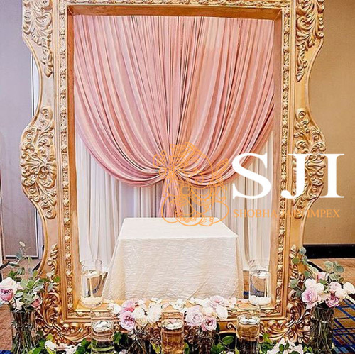 Golden Carved Wedding Fiber Frame