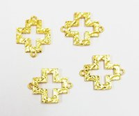 24k Gold Plated Cross Shape Textured Metal Charm Connector - Charm Pendant - Jewelry Pendant - Helping Jewelry Charm
