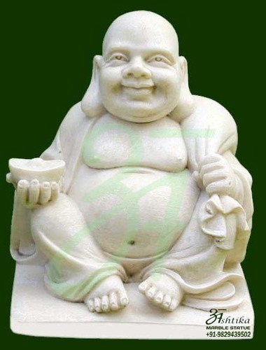 White Marble Laughing Buddha