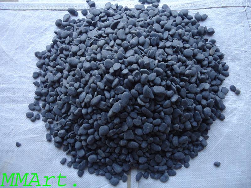 cheap price Black River semi polished pebbles stone wholesaler