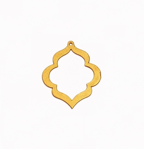 24k Gold Plated Brushed Keyhole Shaped Charm Pendant