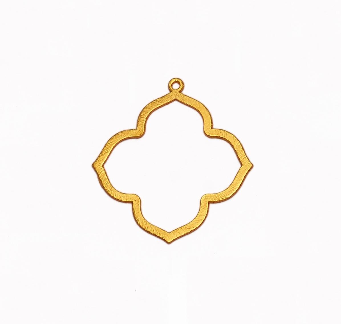 24k Gold Plated Brushed Keyhole Shaped Charm Pendant