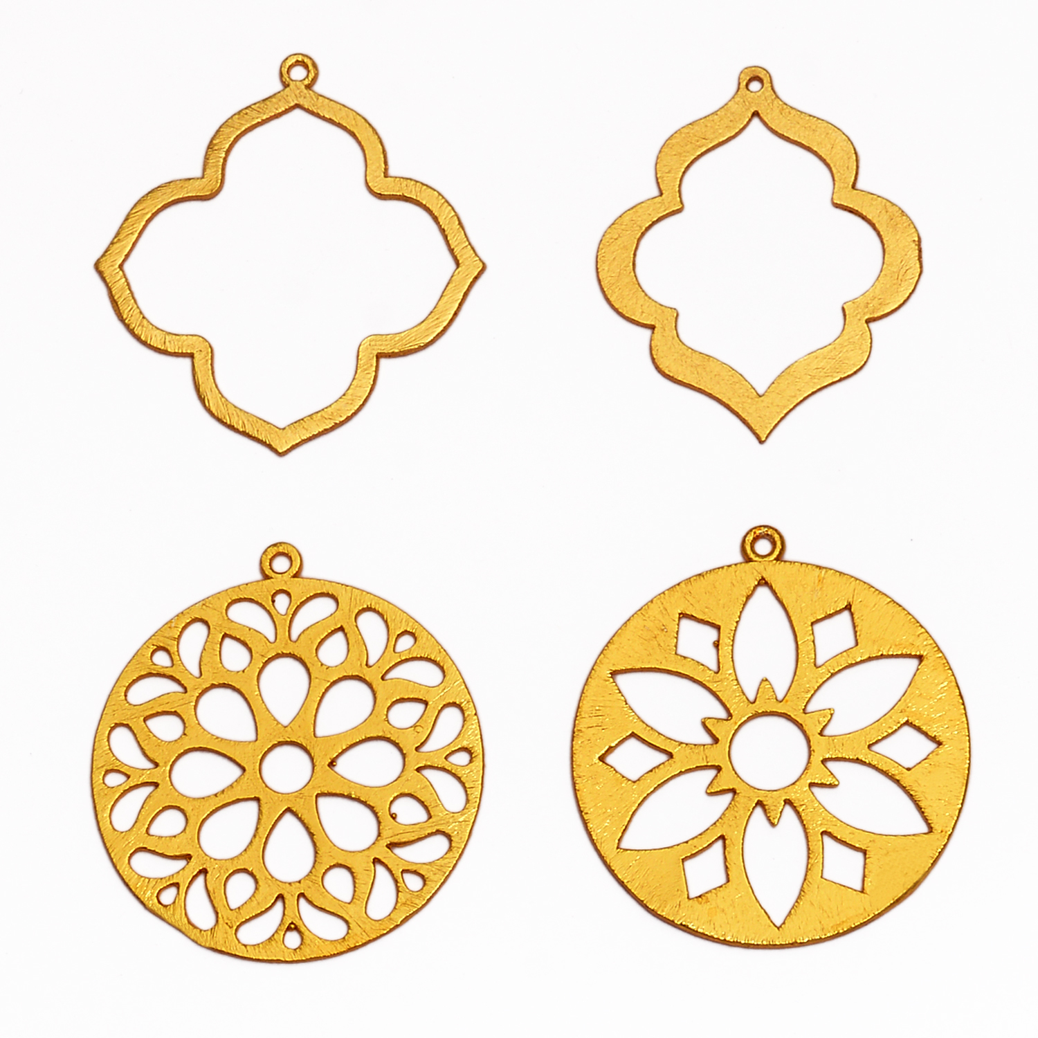 24k Gold Plated Brushed Wavy Flower Blossom Shaped Charms