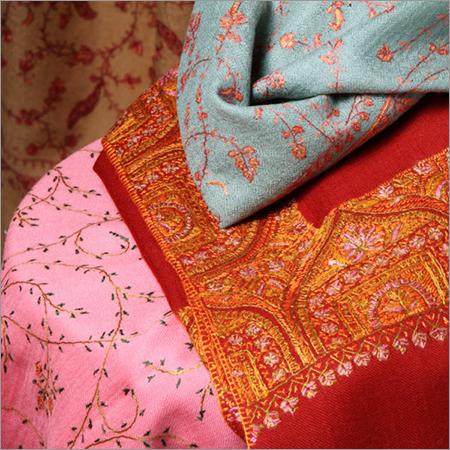 Needle Embroidered Woolen Shawls