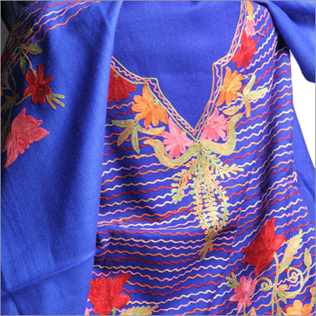Multi Color Aari Work Woolen Pashmina Stoles