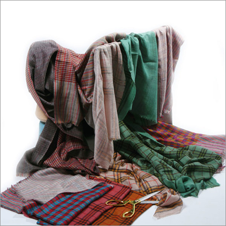 Pashmina Reversible Check Stripes Embroidered Pashmina Stoles