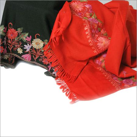 Multi Color Aari Work Embroidered Woolen Stoles
