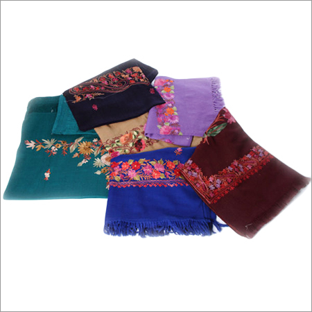 Multi Color Dordar Aari Work Embroidered Woolen Stoles