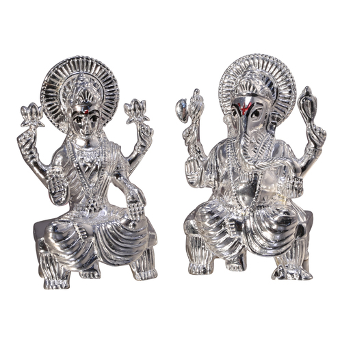Silver lakshmi ganesh statues