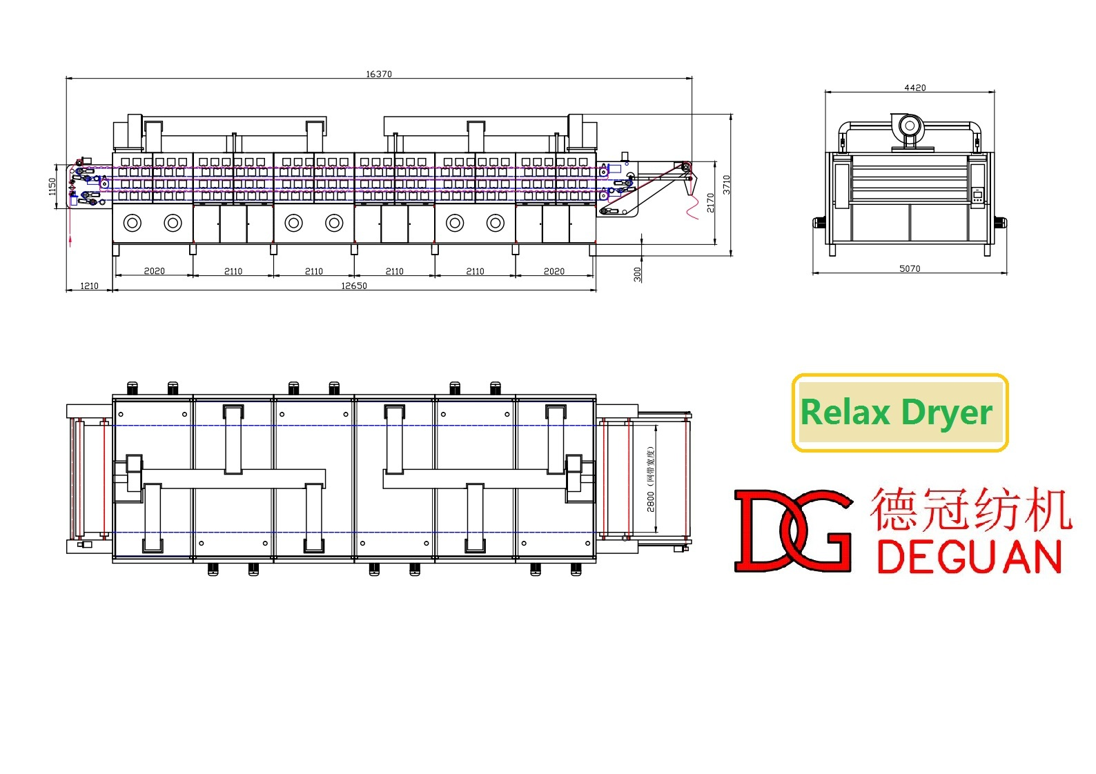 tensionless dryer with padder in front  dyeing finishing machine