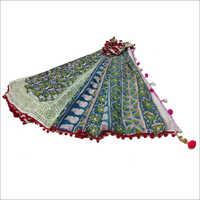 Hand Block Printed Saree With Pom Pom Lace