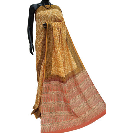 Hand block Ladies Beige Cotton Silk Saree