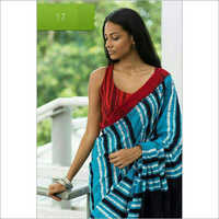 Ladies Blue Printed Saree
