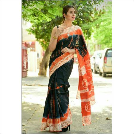 Hand block Multi Colour Cotton Saree
