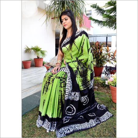 Hand block Ladies Green Printed Saree