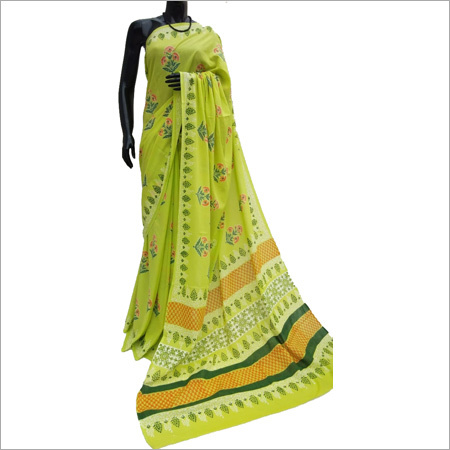 Hand block Light Green Cotton Silk Saree