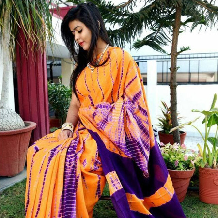 Hand block Cotton Silk Saree