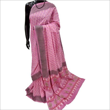Hand block Pink Cotton Saree