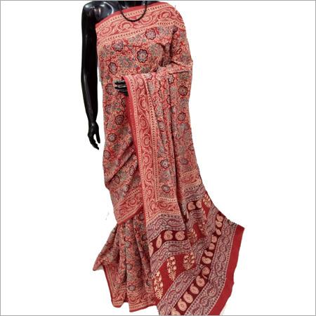 Ladies Pink Cotton Silk Saree