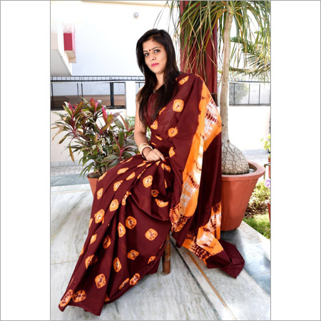Had block printed cotton saree
