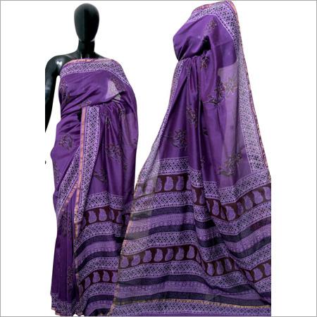 Hand block Purple Cotton Silk Saree